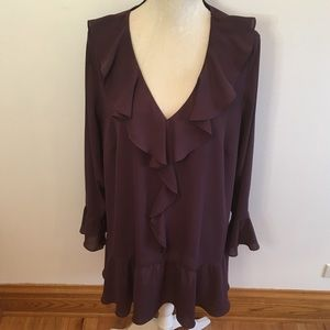 Sejour plum ruffle detail and sleeves top size 18W